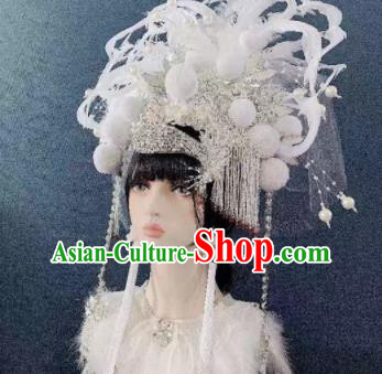 Traditional Chinese Deluxe White Tassel Phoenix Coronet Hair Accessories Halloween Stage Show Headdress for Women