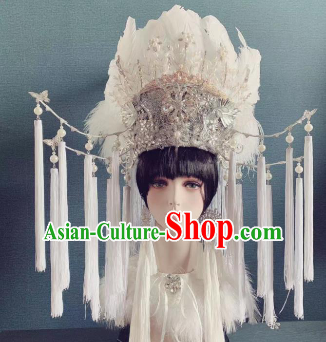 Traditional Chinese Deluxe White Feather Tassel Phoenix Coronet Hair Accessories Halloween Stage Show Headdress for Women