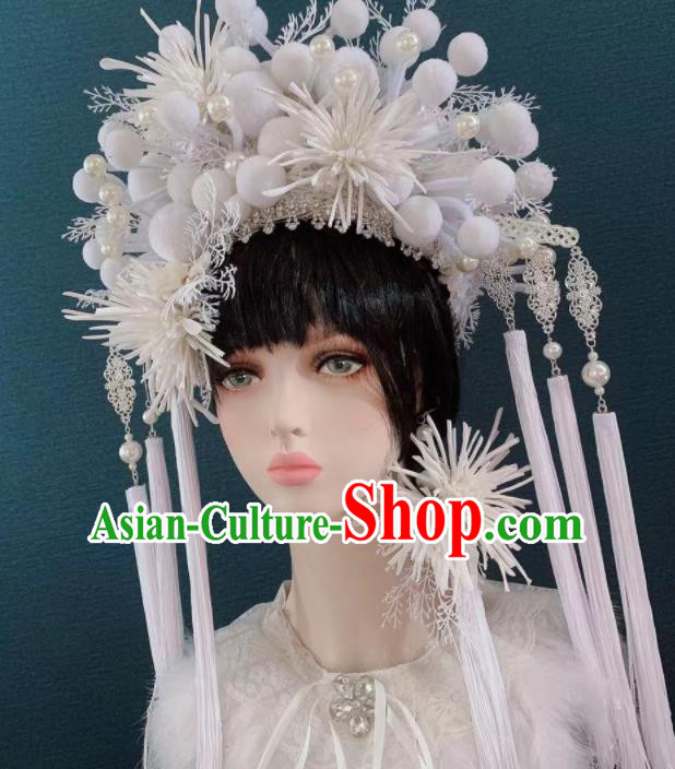 Traditional Chinese Deluxe White Flowers Phoenix Coronet Hair Accessories Halloween Stage Show Headdress for Women