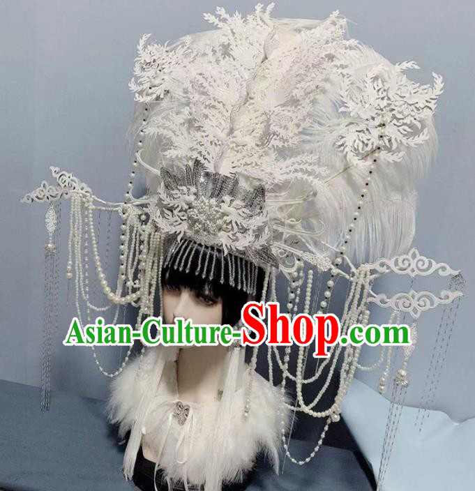 Traditional Chinese Deluxe White Lace Pearls Phoenix Coronet Hair Accessories Halloween Stage Show Headdress for Women