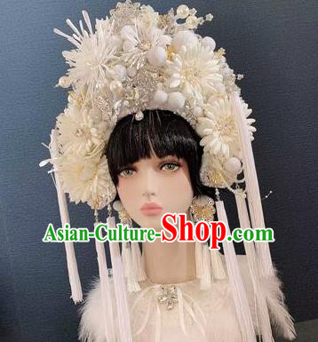Traditional Chinese Deluxe White Phoenix Coronet Hair Accessories Halloween Stage Show Headdress for Women