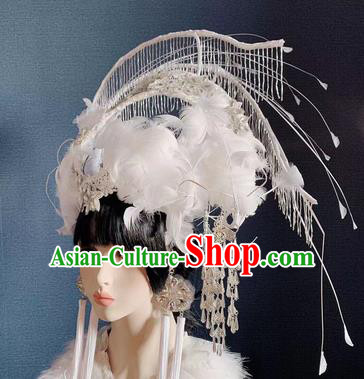 Traditional Chinese Deluxe White Feather Phoenix Coronet Hair Accessories Halloween Stage Show Headdress for Women