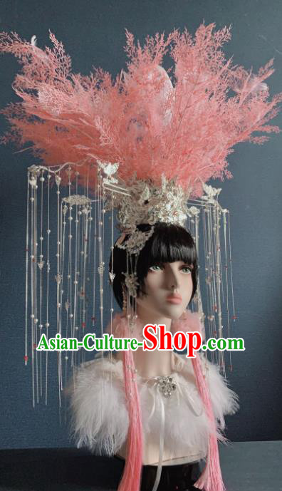 Traditional Chinese Deluxe Feather Pink Phoenix Coronet Hair Accessories Halloween Stage Show Headdress for Women