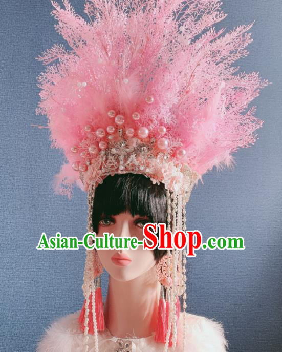 Traditional Chinese Deluxe Pink Feather Phoenix Coronet Hair Accessories Halloween Stage Show Headdress for Women