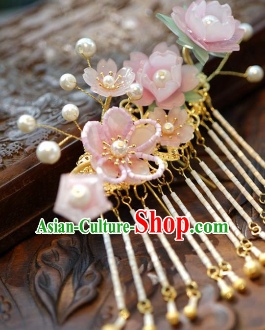 Traditional Chinese Handmade Hair Accessories Pink Flowers Hairpins Ancient Hanfu Tassel Hair Claws for Women
