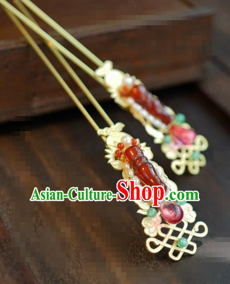 Traditional Chinese Handmade Court Agate Pearls Hairpins Hair Accessories Ancient Hanfu Hair Clip for Women