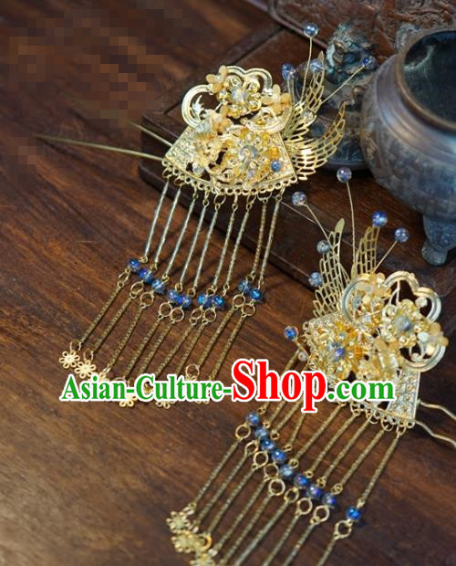 Traditional Chinese Handmade Court Golden Tassel Hairpins Hair Accessories Ancient Hanfu Hair Clip for Women