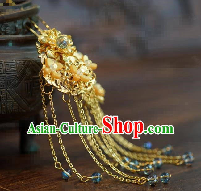 Traditional Chinese Handmade Court Golden Osmanthus Tassel Hairpins Hair Accessories Ancient Hanfu Hair Clip for Women