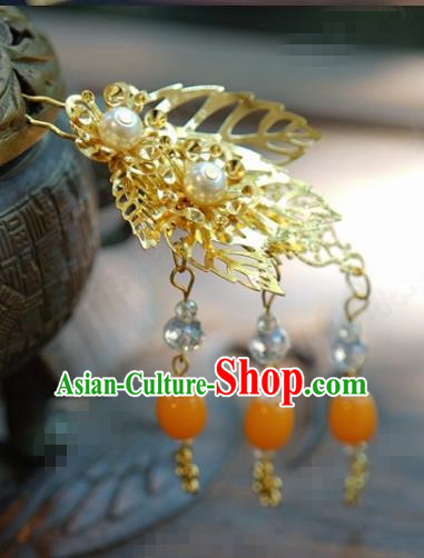 Traditional Chinese Handmade Court Golden Leaf Tassel Hairpins Hair Accessories Ancient Hanfu Hair Clip for Women