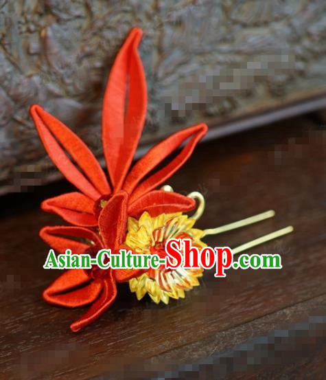 Traditional Chinese Handmade Court Red Maple Leaf Hairpins Hair Accessories Ancient Hanfu Hair Clip for Women