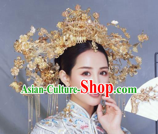Traditional Chinese Wedding Hair Accessories Golden Phoenix Coronet Ancient Bride Hairpins Complete Set for Women