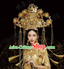 Traditional Chinese Wedding Hair Accessories Luxury Golden Phoenix Coronet Ancient Bride Hairpins Complete Set for Women