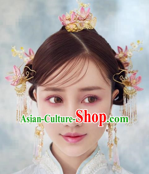 Traditional Chinese Wedding Hair Accessories Luxury Plum Phoenix Coronet Ancient Bride Tassel Hairpins Complete Set for Women