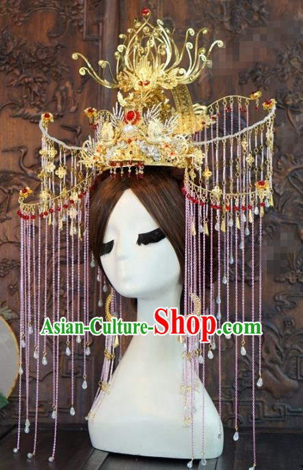 Traditional Chinese Wedding Hair Accessories Luxury Pink Tassel Phoenix Coronet Ancient Bride Hairpins Complete Set for Women