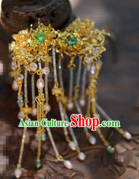 Traditional Chinese Handmade Court Golden Lotus Tassel Hairpins Hair Accessories Ancient Hanfu Hair Clip for Women