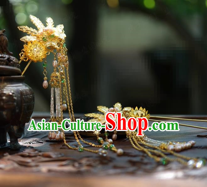 Traditional Chinese Handmade Court Golden Phoenix Tassel Hairpins Hair Accessories Ancient Hanfu Hair Clip for Women