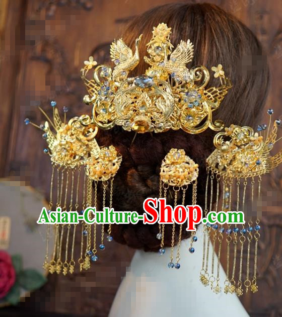 Traditional Chinese Wedding Hair Accessories Ancient Bride Golden Cranes Phoenix Coronet Hairpins Complete Set for Women