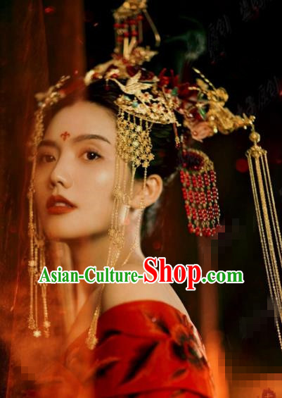 Traditional Chinese Wedding Hair Accessories Ancient Bride Phoenix Coronet Hairpins Complete Set for Women