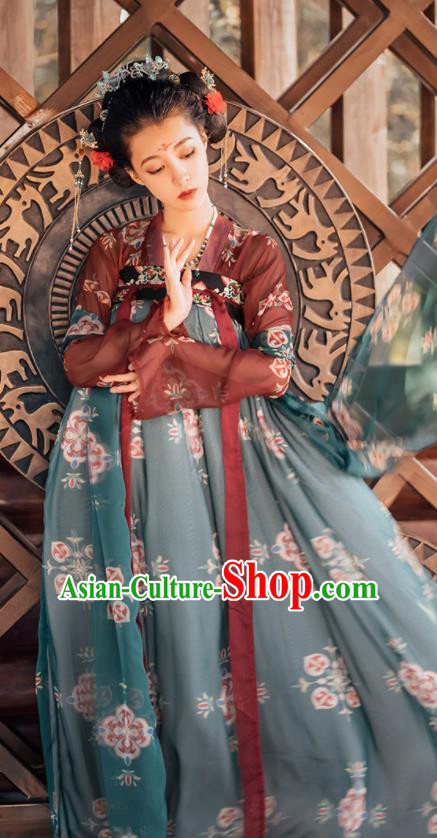 Traditional Chinese Tang Dynasty Palace Princess Replica Costumes Ancient Court Consort Green Hanfu Dress for Women