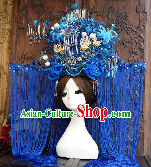 Traditional Chinese Wedding Luxury Phoenix Coronet Hair Accessories Ancient Bride Blue Hairpins Complete Set for Women