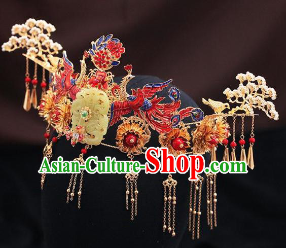Traditional Chinese Wedding Cloisonne Red Phoenix Coronet Luxury Jade Hair Accessories Ancient Bride Hairpins Complete Set for Women