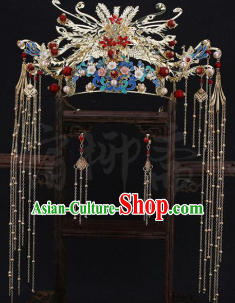 Traditional Chinese Wedding Golden Phoenix Coronet Luxury Hair Accessories Ancient Bride Hairpins Complete Set for Women