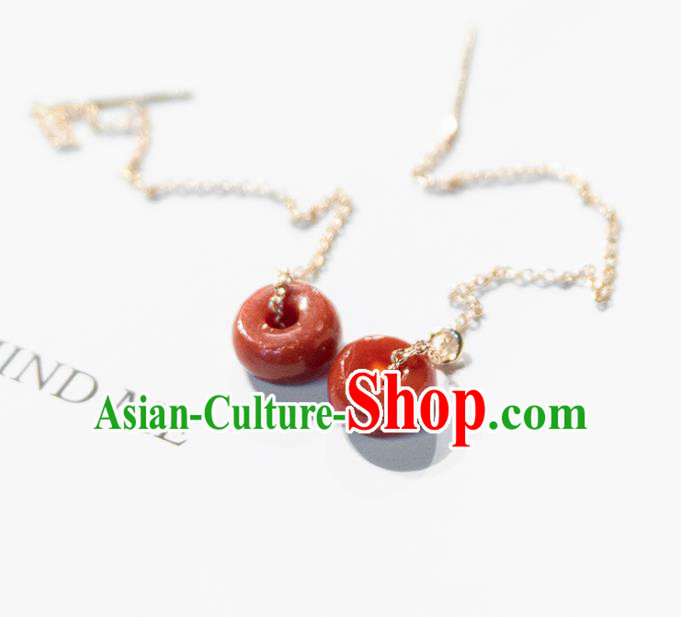 Traditional Chinese Handmade Court Red Ring Tassel Ear Accessories Classical Earrings for Women