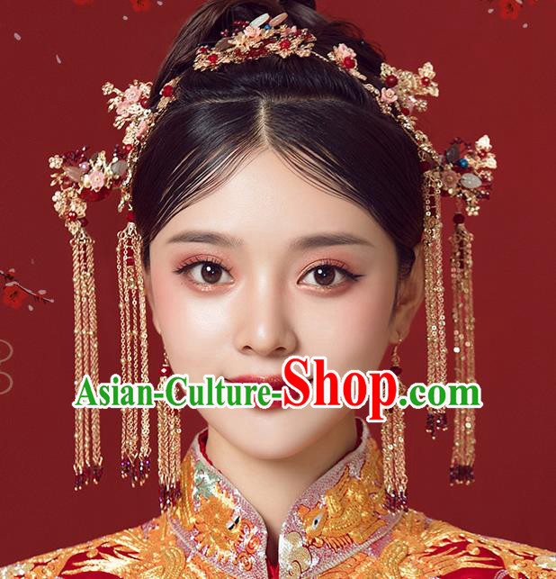 Traditional Chinese Wedding Court Hair Clasp Hair Accessories Ancient Bride Tassel Hairpins Complete Set for Women
