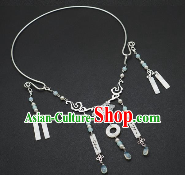 Traditional Chinese Handmade Court Blue Beads Necklace Jewelry Accessories Ancient Princess Necklet for Women