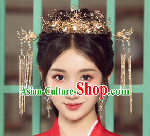 Traditional Chinese Wedding Golden Leaf Phoenix Coronet Luxury Hair Accessories Ancient Bride Hairpins Complete Set for Women