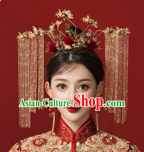 Traditional Chinese Wedding Golden Phoenix Coronet Hair Accessories Ancient Bride Tassel Hairpins Complete Set for Women