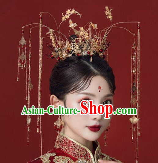 Traditional Chinese Wedding Golden Butterfly Phoenix Coronet Hair Accessories Ancient Bride Tassel Hairpins Complete Set for Women