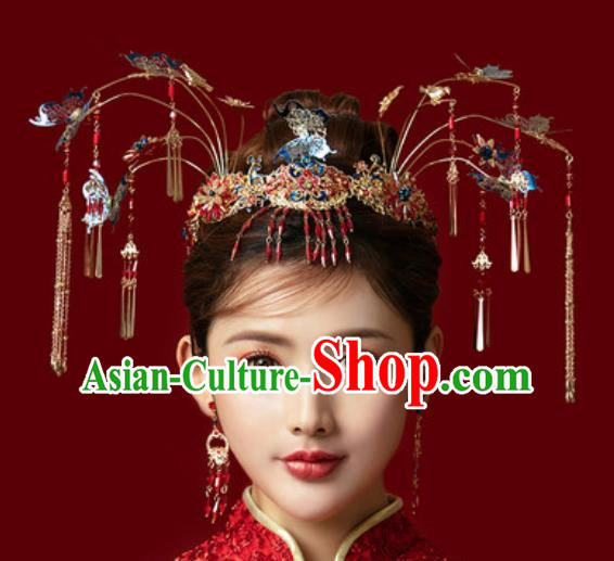 Traditional Chinese Ginkgo Wedding Blueing Hair Crown Hair Accessories Ancient Bride Tassel Hairpins Complete Set