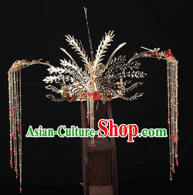 Traditional Chinese Wedding Golden Phoenix Coronet Hair Accessories Ancient Bride Tassel Hairpins Complete Set