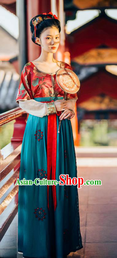 Traditional Chinese Tang Dynasty Court Lady Replica Costumes Ancient Palace Maidservant Hanfu Dress for Women