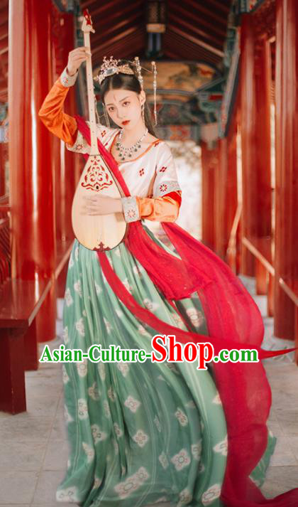 Traditional Chinese Tang Dynasty Palace Lady Replica Costumes Ancient Apsaras Flying Dance Hanfu Dress for Women