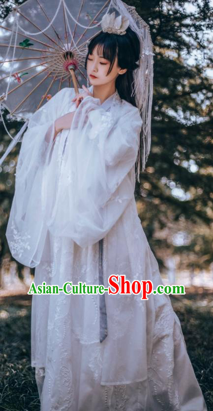 Traditional Chinese Tang Dynasty Court Princess Replica Costumes Ancient Apsaras White Hanfu Dress for Women