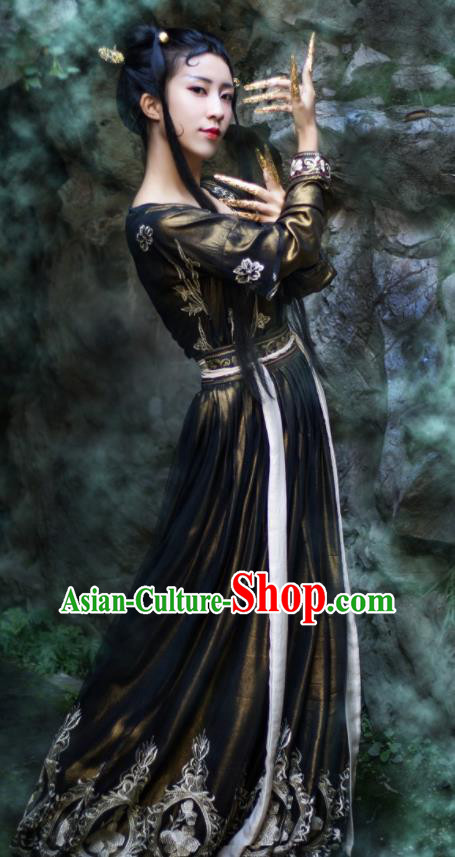 Traditional Chinese Tang Dynasty Princess Replica Costumes Ancient Apsaras Peri Black Hanfu Dress for Women