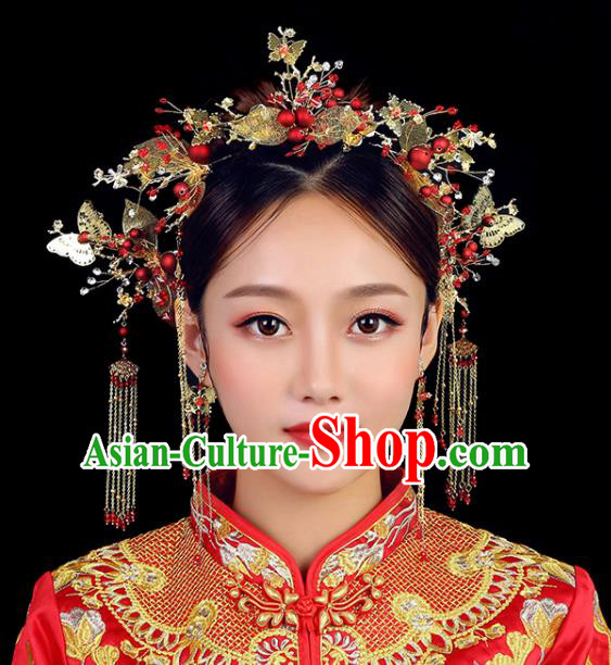 Traditional Chinese Wedding Golden Butterfly Phoenix Coronet Handmade Ancient Bride Hairpins Hair Accessories Complete Set