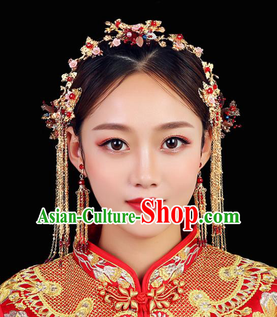 Traditional Chinese Wedding Hair Clasp Handmade Ancient Bride Hairpins Hair Accessories Complete Set