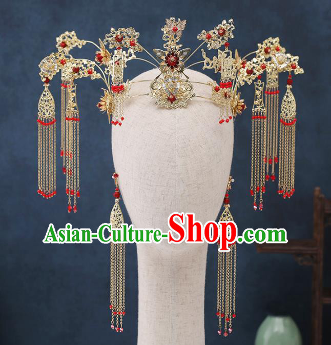 Traditional Chinese Wedding Handmade Golden Tassel Phoenix Coronet Ancient Bride Hairpins Hair Accessories Complete Set