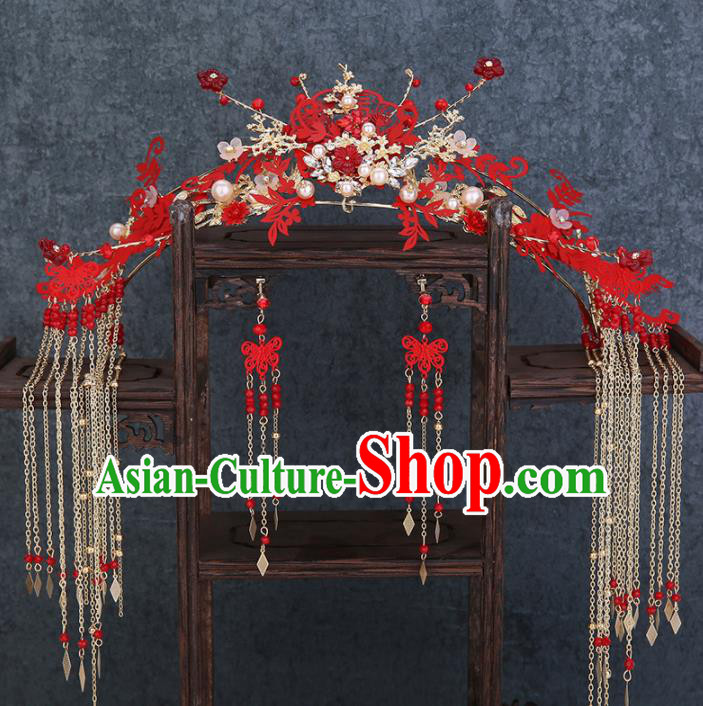Traditional Chinese Wedding Handmade Red Phoenix Coronet Ancient Bride Hairpins Hair Accessories Complete Set
