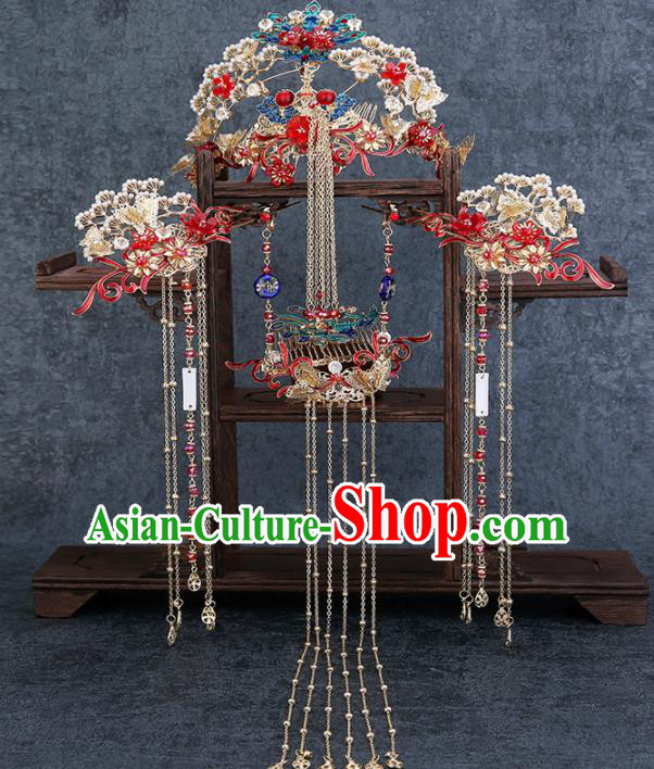 Traditional Chinese Wedding Handmade Phoenix Pine Hair Comb Ancient Bride Hairpins Hair Accessories Complete Set