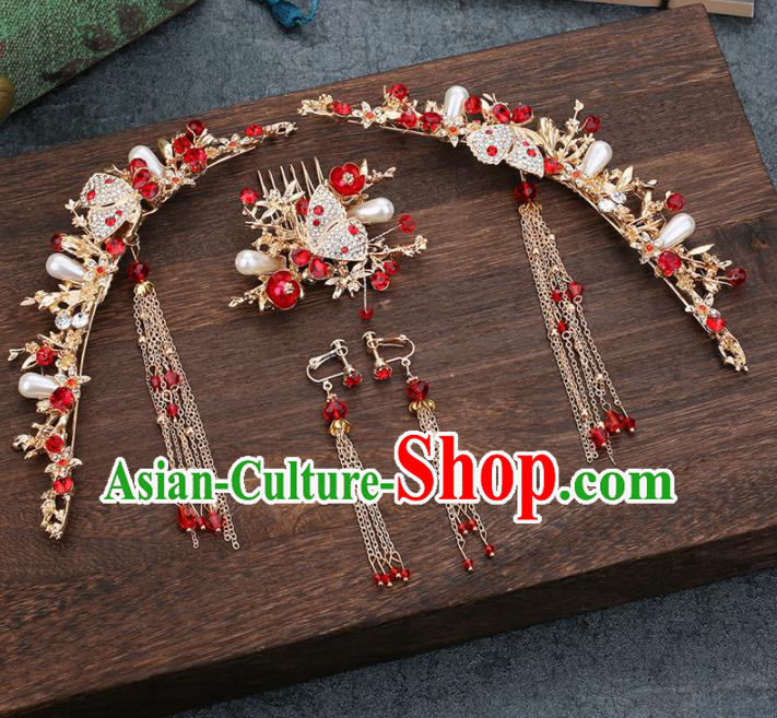 Traditional Chinese Wedding Handmade Crystal Hair Comb Ancient Bride Hairpins Hair Accessories Complete Set