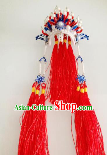 Traditional Chinese Handmade Beijing Opera Red Tassel Phoenix Coronet Ancient Princess Hairpins Hair Accessories for Women