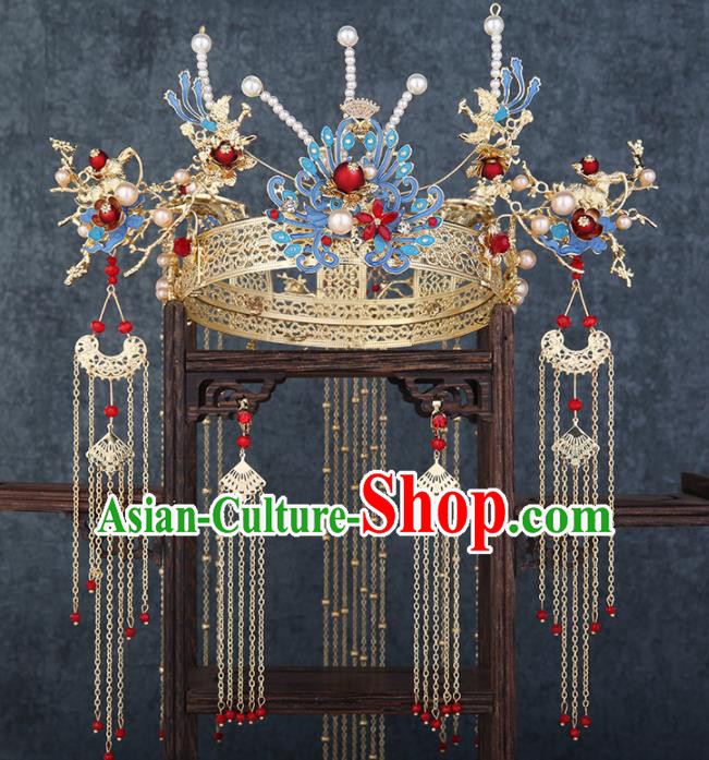 Traditional Chinese Wedding Handmade Blue Phoenix Coronet Ancient Bride Hairpins Hair Accessories Complete Set