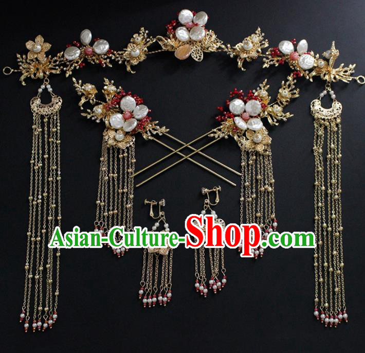 Traditional Chinese Wedding Handmade Shell Hair Clasp Ancient Bride Hairpins Hair Accessories Complete Set