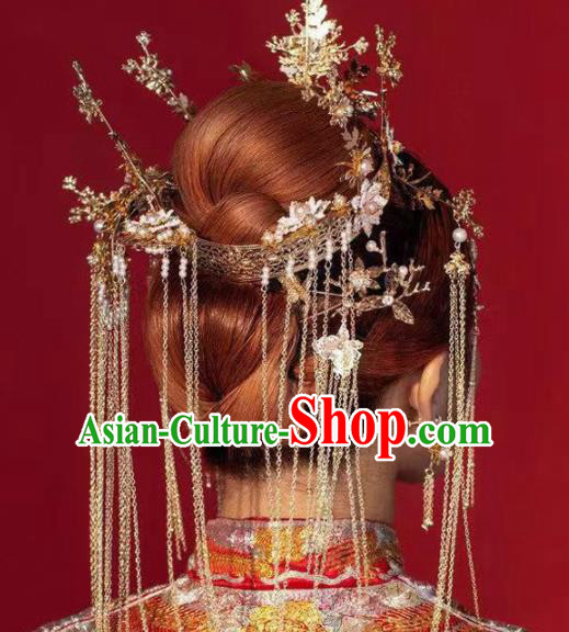 Traditional Chinese Handmade Wedding Tassel Phoenix Coronet Ancient Bride Hairpins Hair Accessories for Women
