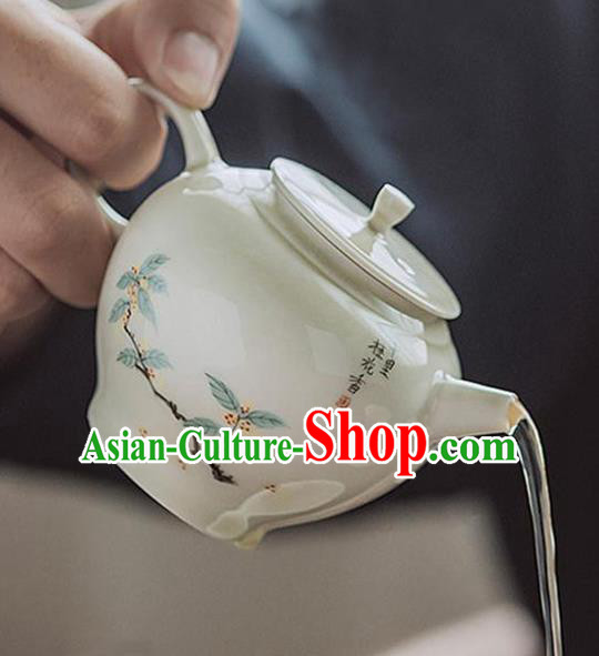 Chinese Classical Hand Made Jingdezhen Shi Teapot Porcelain Ceramics Tea Kettle