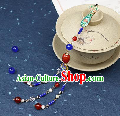 Traditional Chinese Handmade Blueing Tassel Brooch Hanfu Breastpin Jewelry Accessories for Women